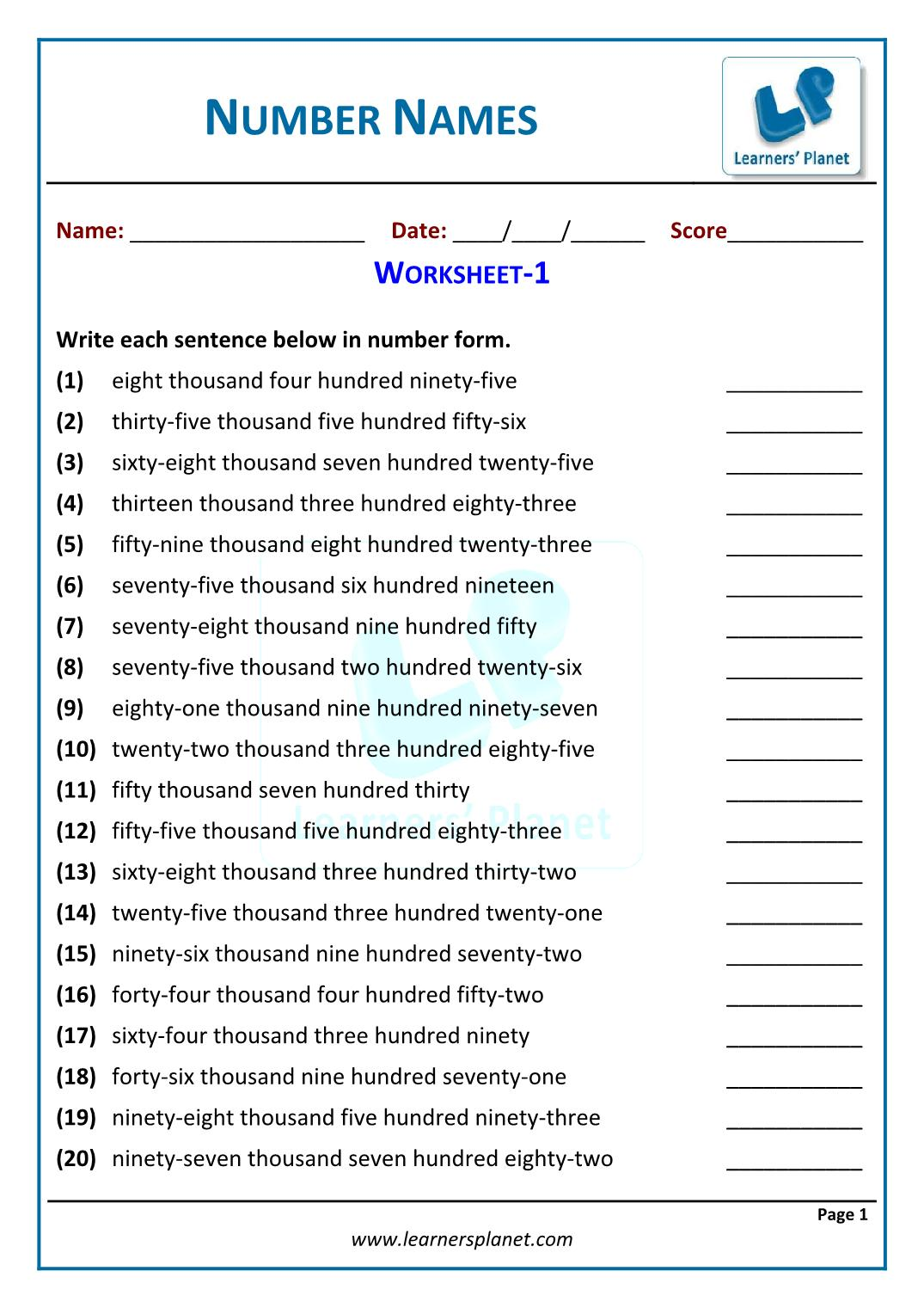 Class 4 NCERT math number names worksheets online quiz for kids