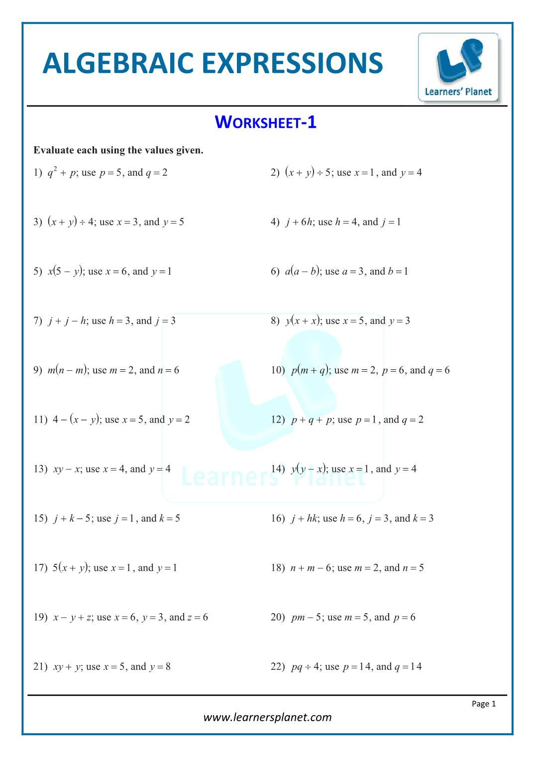 - Printable Worksheets Algebraic Expressions 7th CBSE Math Study Material  Videos