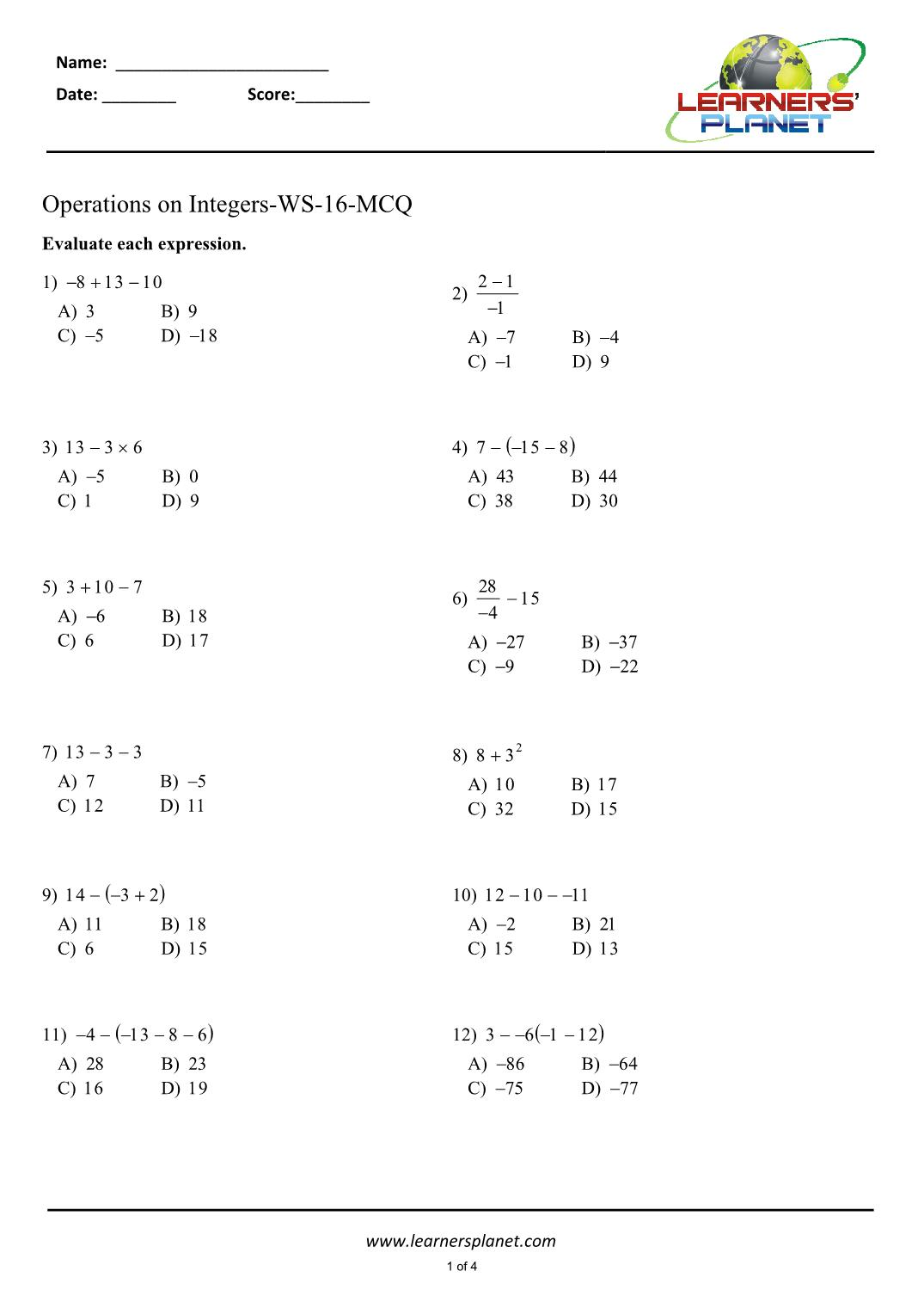 Integers Class 7 Math Worksheets