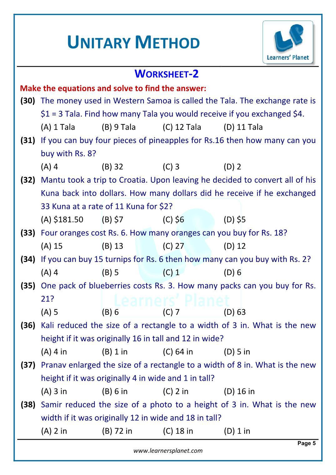 Problems using unitary method worksheets