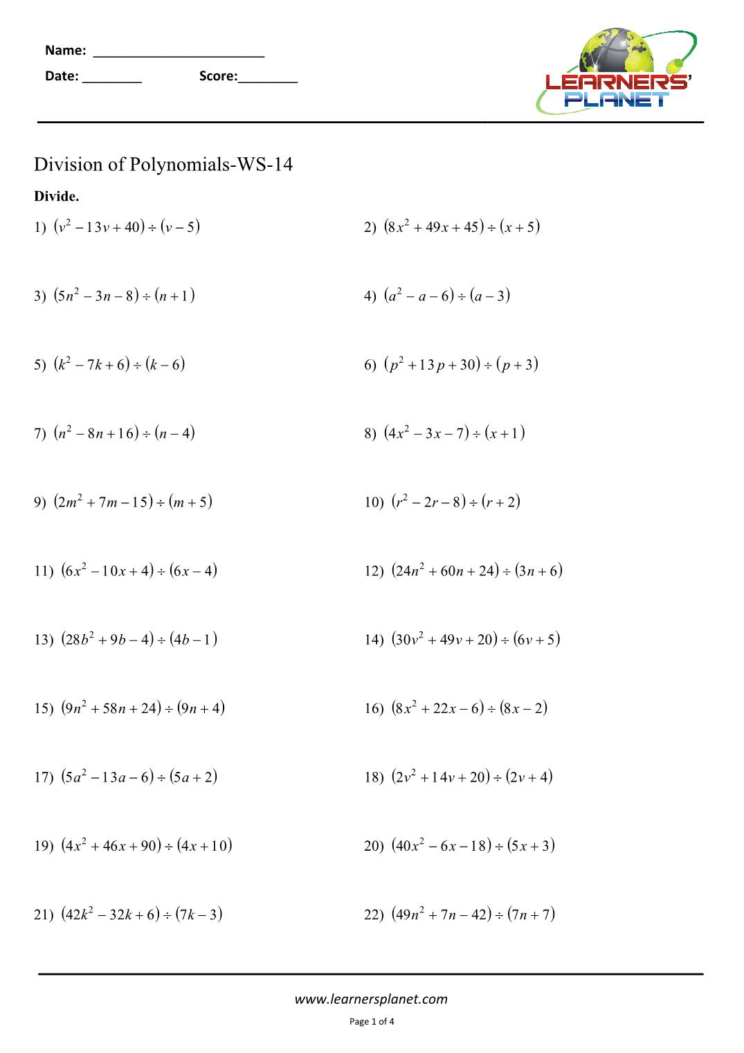 Division Of Polynomials Cl 8 Worksheets