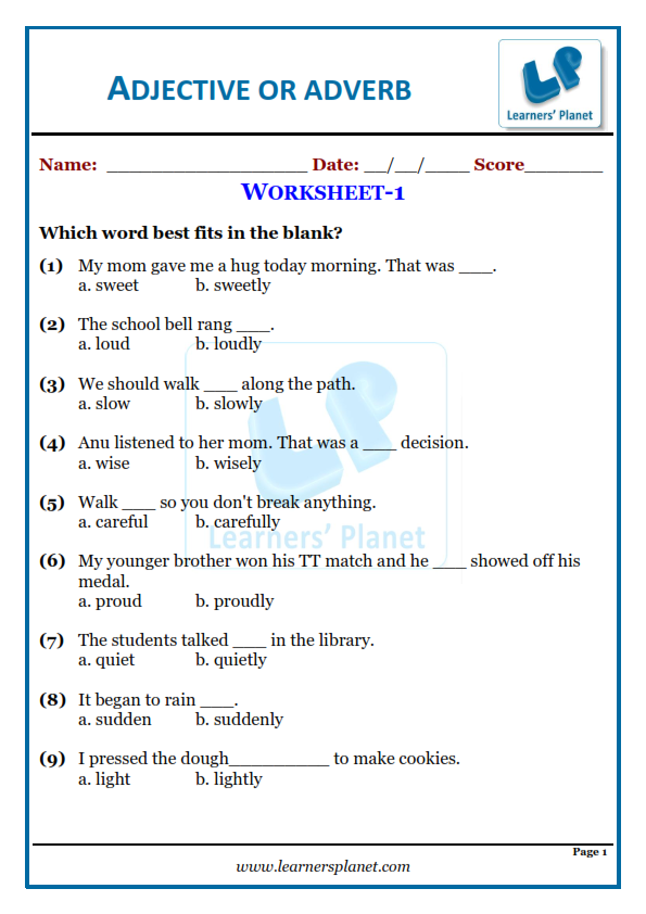 Mcq Worksheet On Adjectives Or Adverbs For Grade 3 Kids Learners Planet