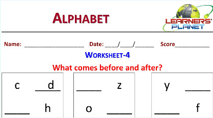 Worksheets on Alphabets for Kindergarten