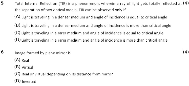 10th cbse-icse physics Light Reflection and Refraction worksheets for kids