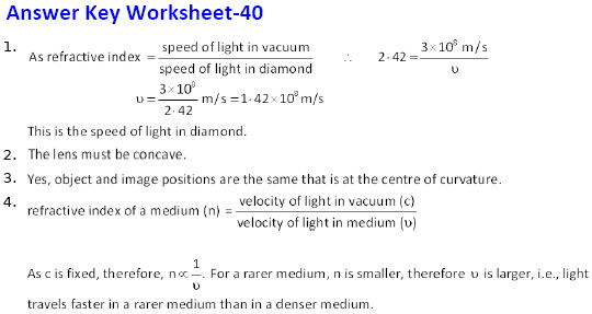 class-10 physics cbse-icse Light Reflection & Refraction practice Worksheets