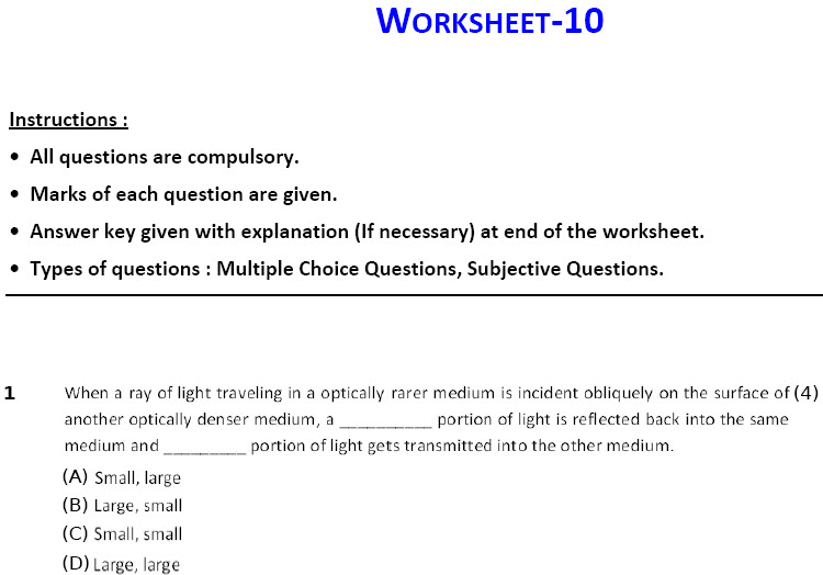 physics worksheets Light Reflection and Refraction Worksheets for class 10 cbse-icse