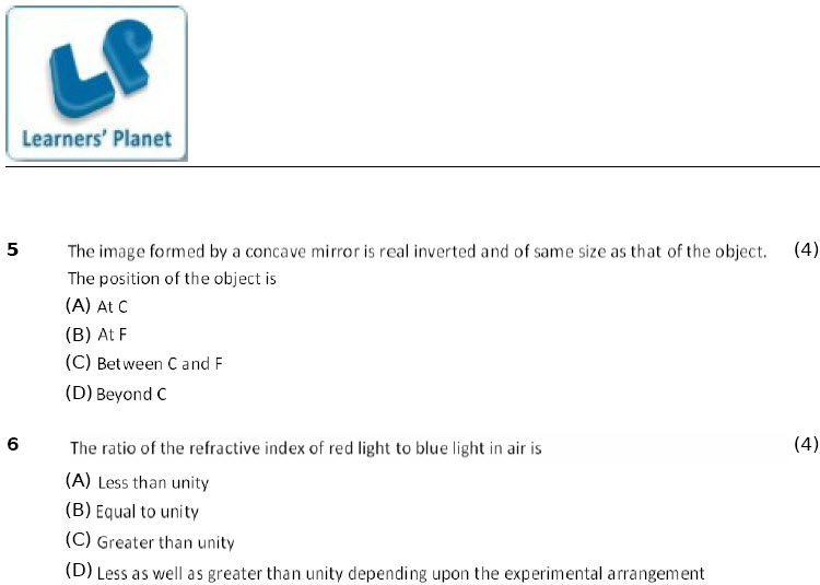 Light Reflection and Refraction Worksheets 10 cbse-icse phyics