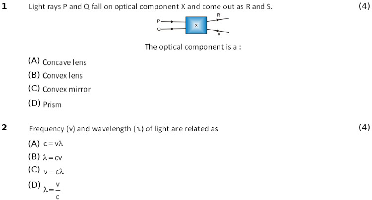 cbse-icse grade-10 phy online practice worksheets Light Reflection & Refraction