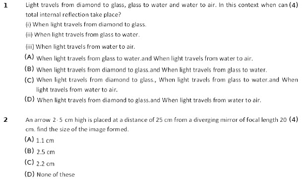 10 cbse physics worksheets Light Reflection and Refraction