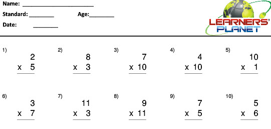 Grade 2 maths multiplication worksheets for students