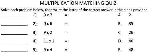 Multiplication worksheets for Math class 2 kids tutorial