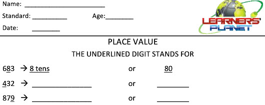 Place value worksheets for math students school syllabus