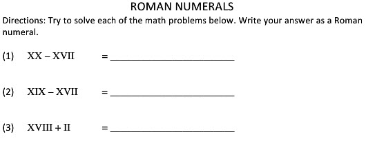Math worksheet roman numerals for 2nd class kids study material