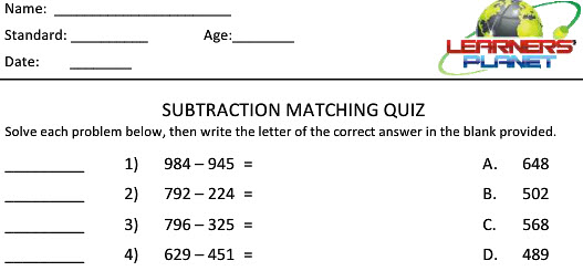 Grade 2 maths online learning subtraction worksheets