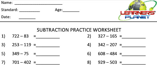 Math subtraction worksheets for grade 2 students