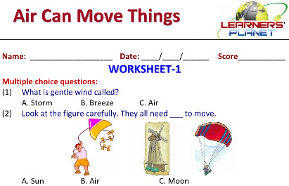 Online Printable Worksheets on Air Can Move Things for science kids