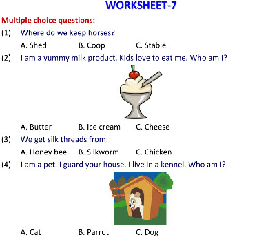 science worksheets on Animals that Help us for class 2 students
