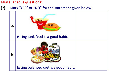 Science worksheets on Food for Health for class 2 kids