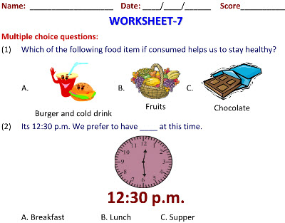 science worksheets on Food for Health for grade 2 student