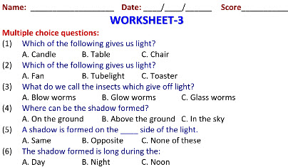 Light and Shadow worksheets for grade 2 science kids