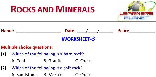 Online Printable Worksheets Rocks Minerals For Grade 2 Students