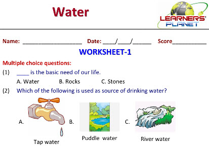 Practice Worksheets of Water for class 2 kids