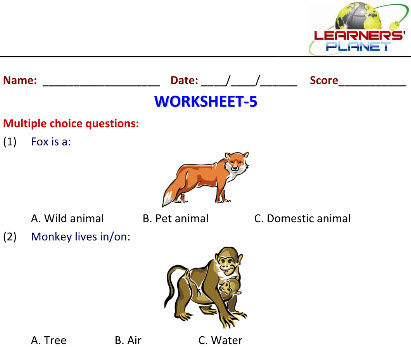 Online Printable Worksheets of Wild Animals in class 2 science