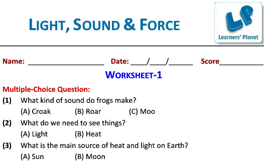 Online Printable Worksheets On Light Sound And Force Science For Grade 3 Kids: Grade 3 Science Worksheets Forces At Alzheimers-prions.com
