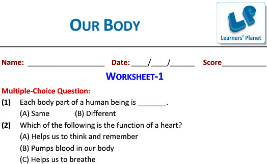 Science worksheets of Our Body for grade three students