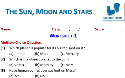 printable worksheets on sun moon and stars for grade 3 students