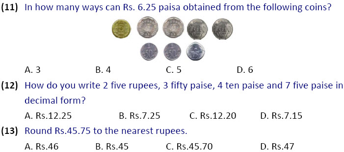 Money Worksheets on maths for class 4 olympiad kids