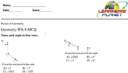 Maths worksheets on Basic concepts of Geometry for class 6 kids
