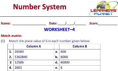 Maths worksheets on Number System for class 6