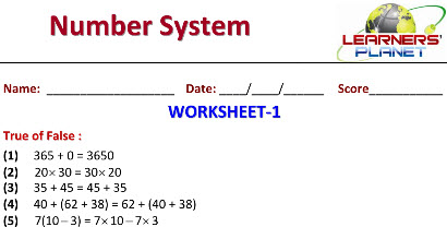 printable worksheets for class 6 Maths on Number System