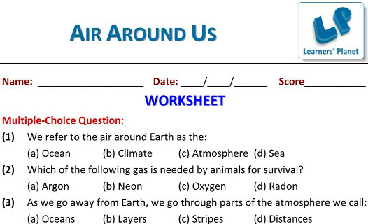 Class 6 Science workssheets on Air Around Us for students