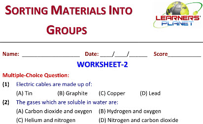 worksheets for grade 6 students on Sorting Materials into Groups