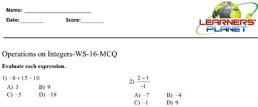 7 CBSE integers printable worksheet test videos online study – Integers Worksheet Grade 7