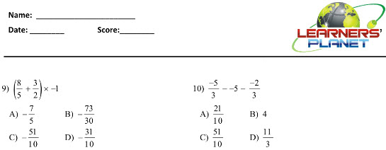 online math worksheet for Operations on Rational Numbers