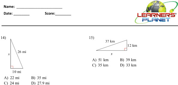 Properties of Triangle Worksheets for grade 7 maths students