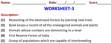 Class 8 Biology worksheets on Conservation of Plants & Animals