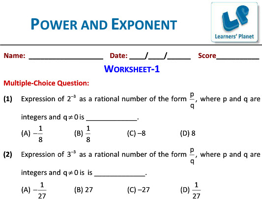 grade 8 Math worksheets on Powers and Exponents