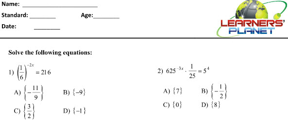 Powers and Exponents worksheets for CBSE maths students