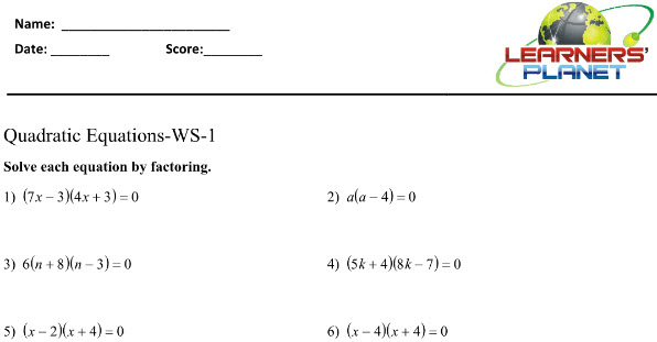 Quadratic Equations Worksheets for maths class 8 students