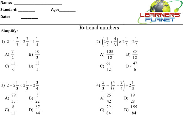 8th CBSE math printable notes printable worksheets on rational – Math Online Worksheets