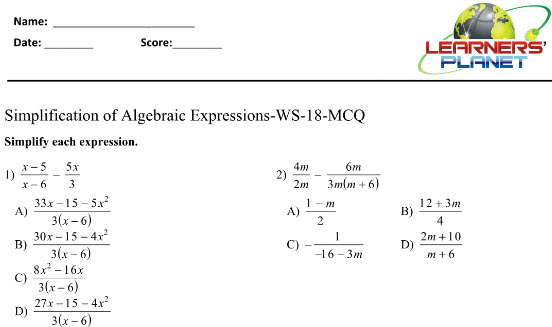 Simplification of Algebraic Expressions worksheets for grade 8