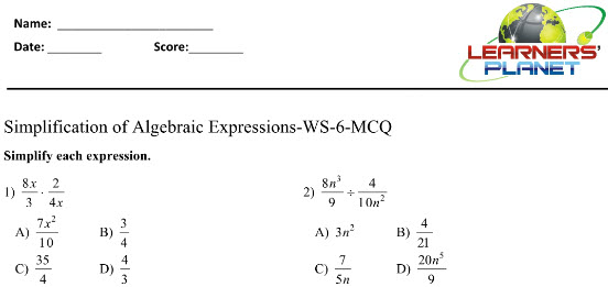 Math practice worksheets Simplification of Algebraic expressions for class 8 students