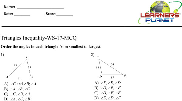 Maths worksheets on Triangles for 8 ICSE students