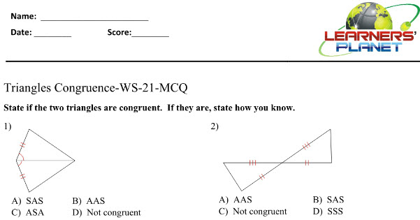 8 ICSE Math practice worksheet on Triangles