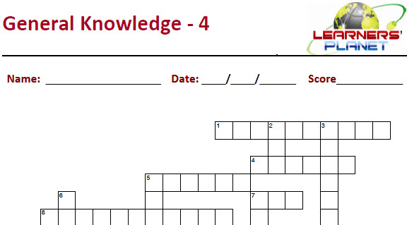 Online crossword puzzle worksheet for general knowledge