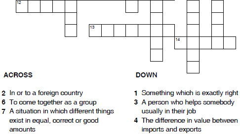 English crossword printable worksheets for children